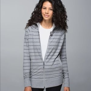 Lululemon Rollin with my Omies Gray Striped Hoodie
